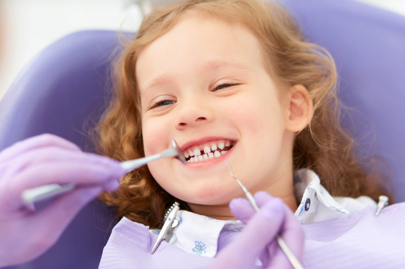 Child at pediatric dentist