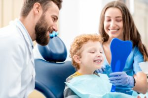 little boy in the dental chair